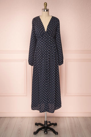 Koko Navy Patterned Button-Up A-Line Maxi Dress | Boutique 1861