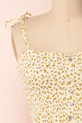 Lopaka Yellow Floral Ruched Bustier Crop Top | Boutique 1861
