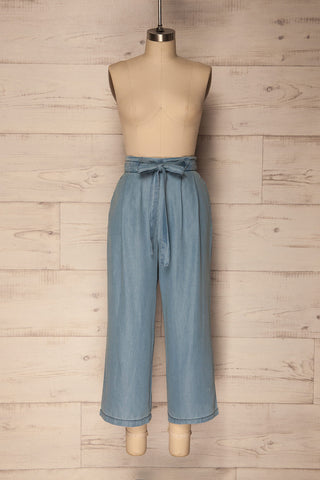 Majoges Light Blue Wide Leg Cropped Pants | La Petite Garçonne