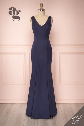 Sami Navy Blue Silky Mermaid Gown with Slit | Boudoir 1861
