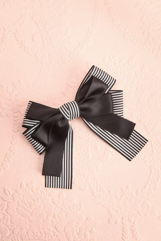 Limodore Black Striped Double Ribbon Bow Hair Clip | Boutique 1861