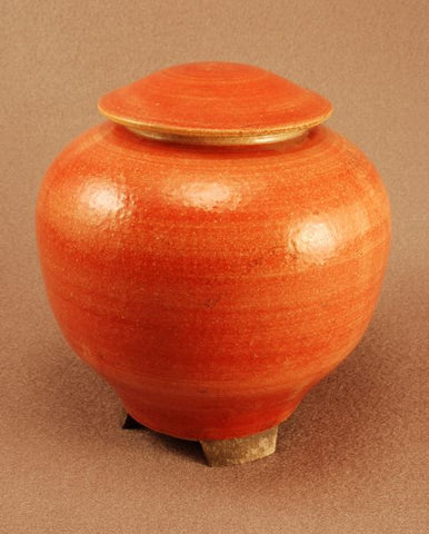 Raku ceramic urn- small- footed- red-handthrown- art-artistic urn