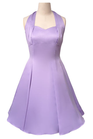 Hell Bunny Classic Marilyn Lavender Satin Halter Flare Party Dress - Skelapparel