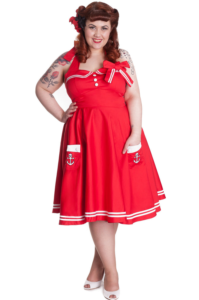 Hell Bunny Plus Size 50's Motley Holiday Red Sailor Pinup Dress - Skelapparel