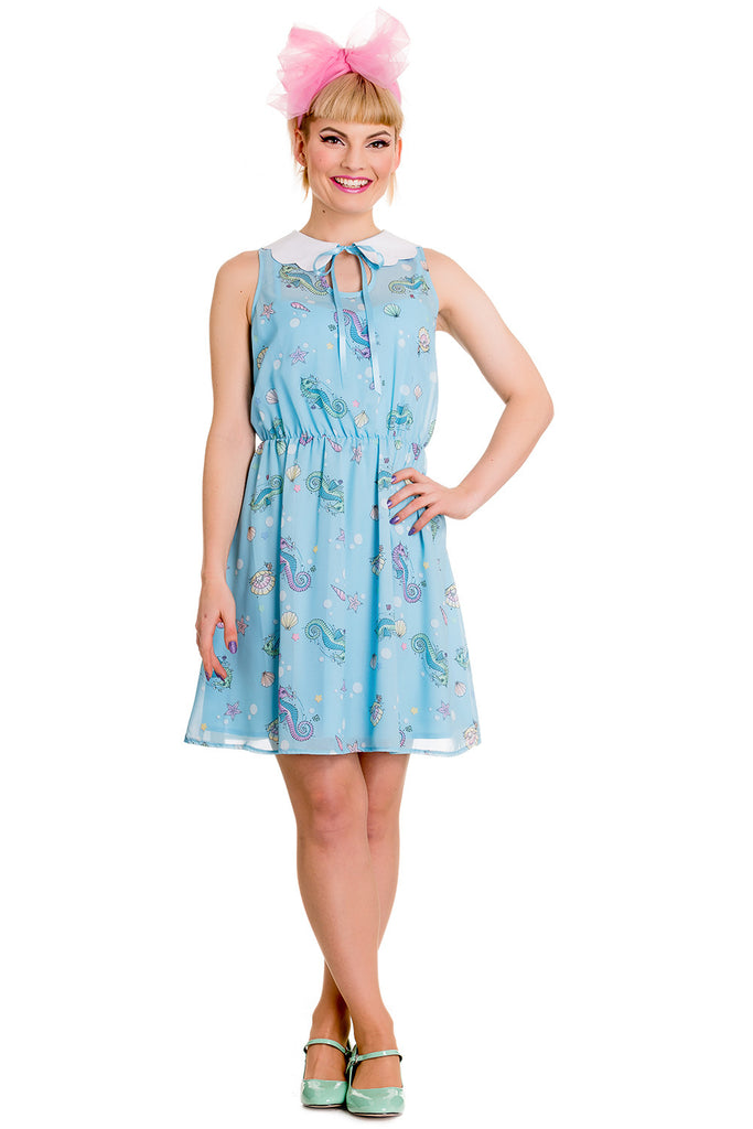 Hell Bunny Sea Punk Pastel Blue Bubble & Seahorse Sweet Blue Chiffon Dress - Skelapparel