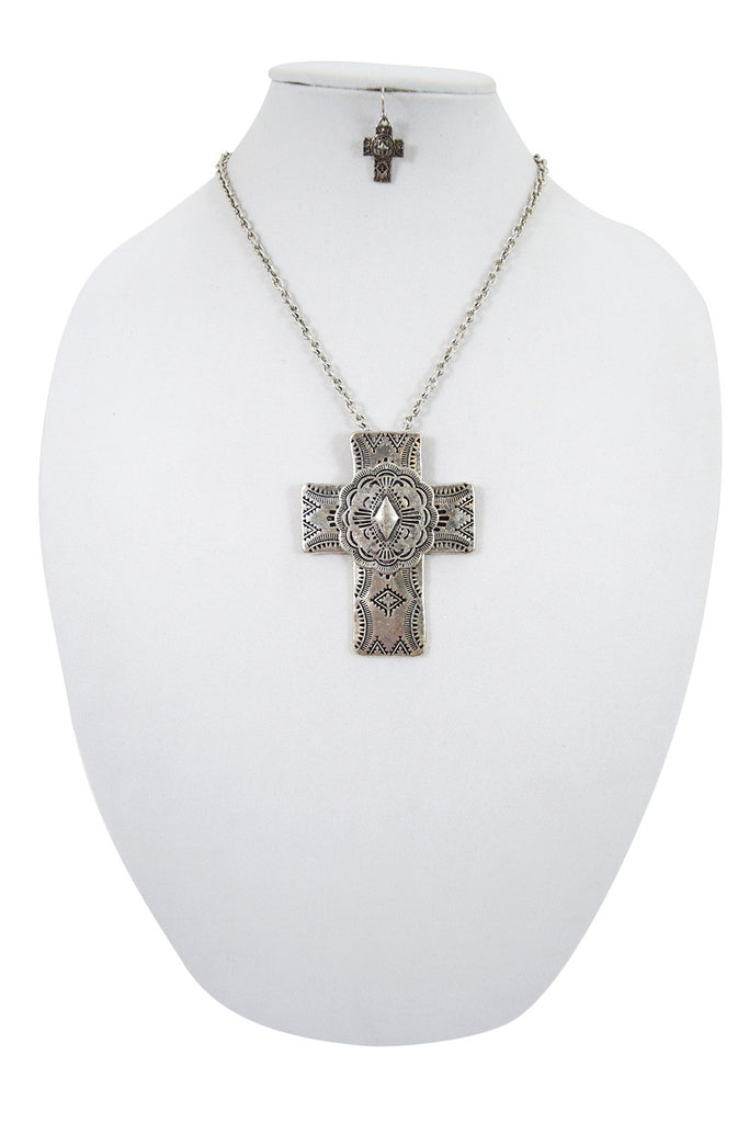Western Cowgirl Rustic Bohemian Aztec Tribal Cross Necklace & Earrings Set - Skelapparel