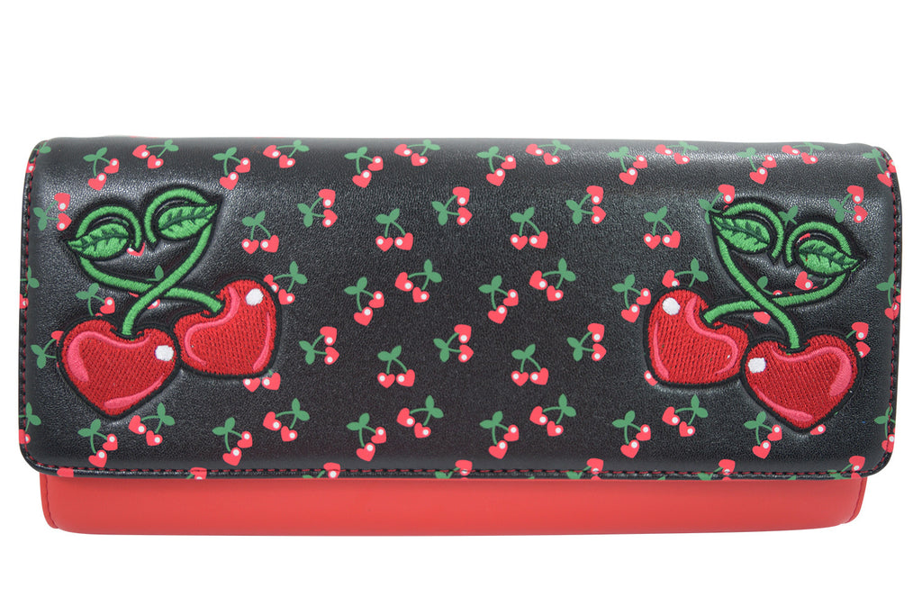 Cherry Love Large Clutch Wallet Crossbody Purse