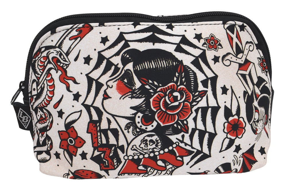 Liquorbrand El Fin Old School Tattoo Art Unisex Travel Pouch Cosmetic Bag - Skelapparel