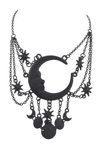 Celestial Goth Crescent Moon Face and Stars Sleepless Nights Witchy Black Necklace