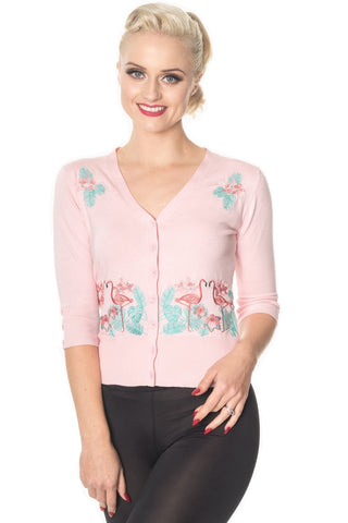 50's Vintage Tropical Paradise Pink Flamingo Cardigan in Baby Pink - Skelapparel