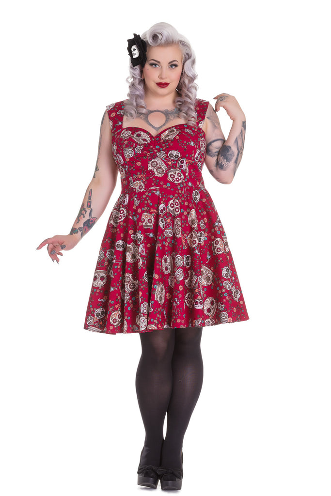 Hell Bunny Calavera Day of the Dead Flower Sugar Skull Red Party Dress - Skelapparel
