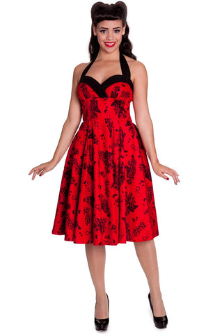 Hell Bunny Forever Love Goth Emo Skeleton and  Butterfly Vanessa Halter Party Dress - Skelapparel
