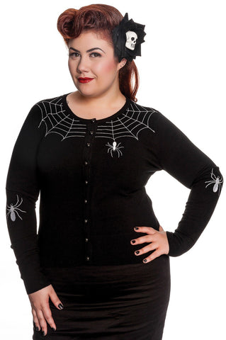 Hell Bunny Spooky Spider & Spiderweb Black Cardigan - Skelapparel