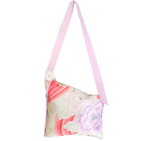 Kimono Silk Shoulder Bag 'Florals with Lilac Leather'