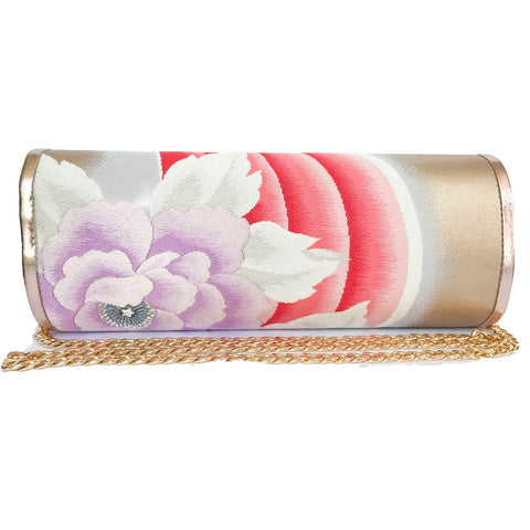 Kimono Luxe Clutch Bag 'Pink Lilac Florals Metallic leather'