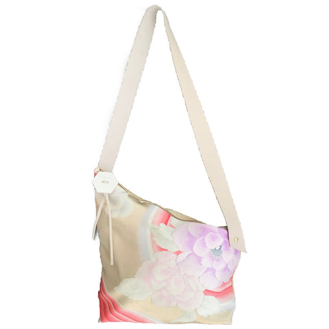 Kimono Silk Shoulder Bag 'Lilac Florals with Beige Leather'