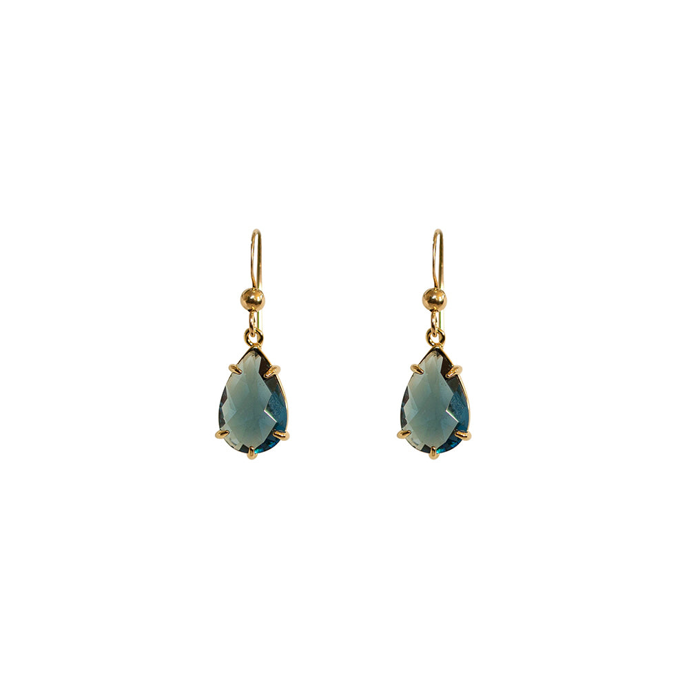 """Montana Blue"" Glass Prong Teardrop Earrings"