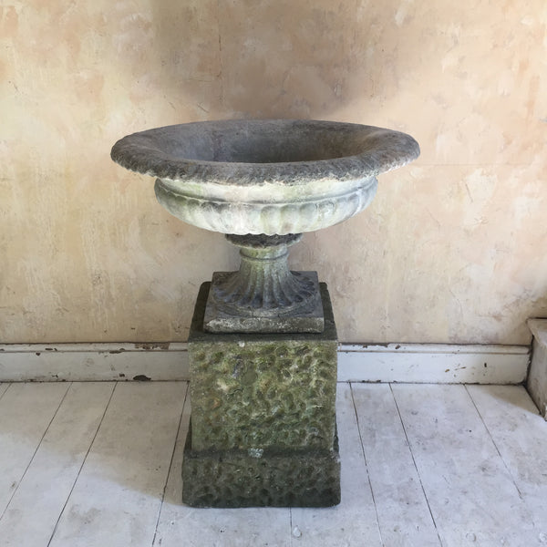 Urn On Rusticated Plinth