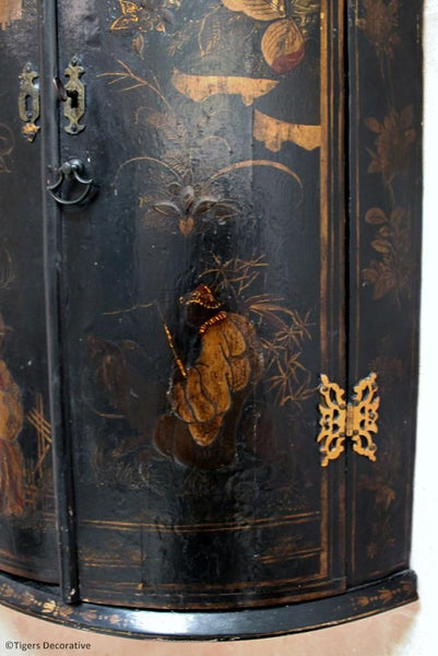 Lacquered Bow Fronted Corner Cupboard