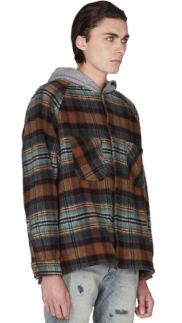 Hooded Flannel Jacket - Teal