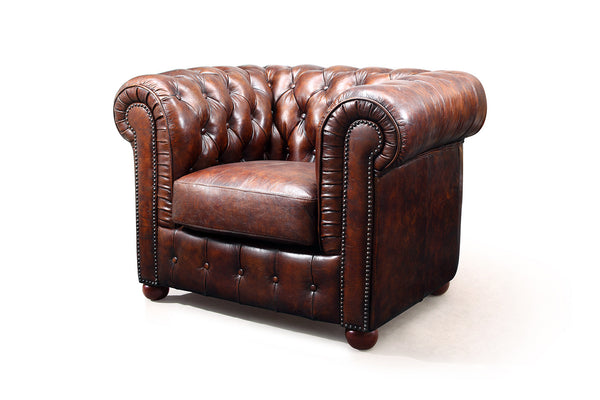 Fauteuil Chesterfield en cuir marron Antique Rose & Moore de profil RM-31