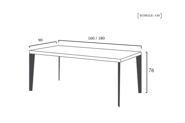 Schéma Technique Table Design Nordique Fine Dewarens
