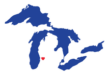 Great Lakes Heart Location Sticker
