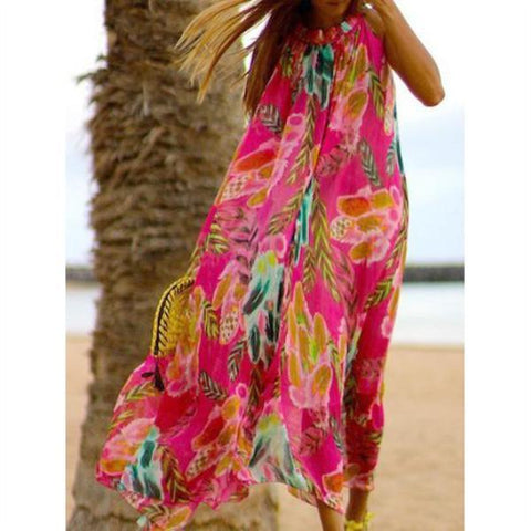 Printed Chiffon Loose Boho Beach Maxi Dress