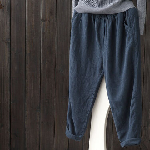 Solid Color Casual Plus Size Pants