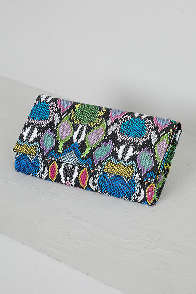 Multi Color Snake Skin Clutch-PREORDER ONLY SHIPS JULY 26TH