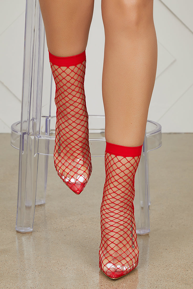Fishnet Perspex Slingback Pumps (Red)