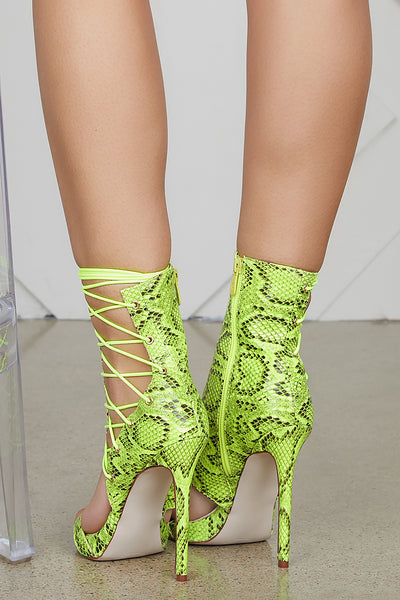 Firing Lace Up Bootie (Lime Snake)