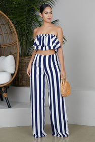 Navy Stripe Pants Set
