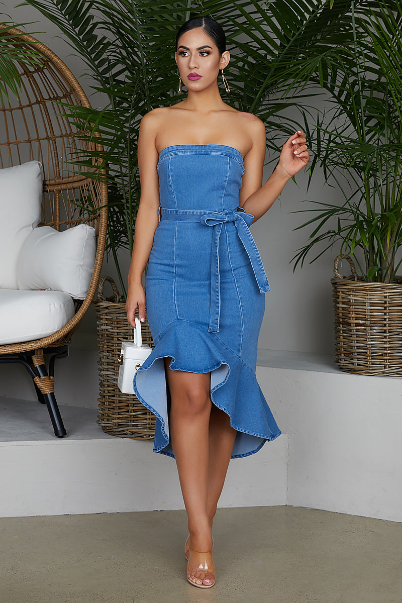 Flare Out Denim Dress