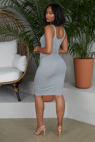 Fitted Ribbed Tank Dress (Grey)