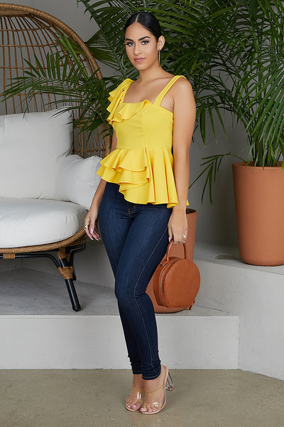 Flirt With Me Ruffle Top (Mustard Yellow)