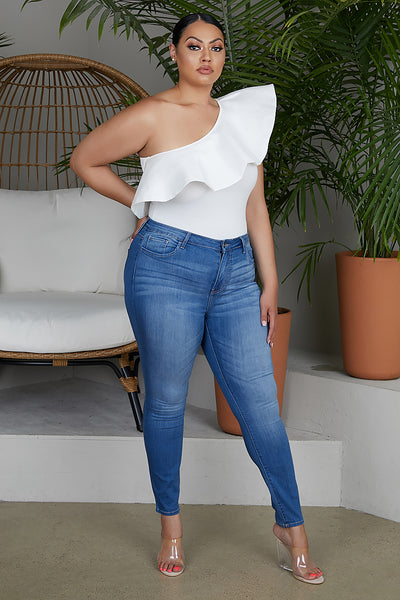 Medium Wash Curvy Skinny Jeans
