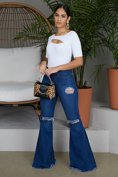 Ring My Bell Wide Leg Jeans (Dark Wash)
