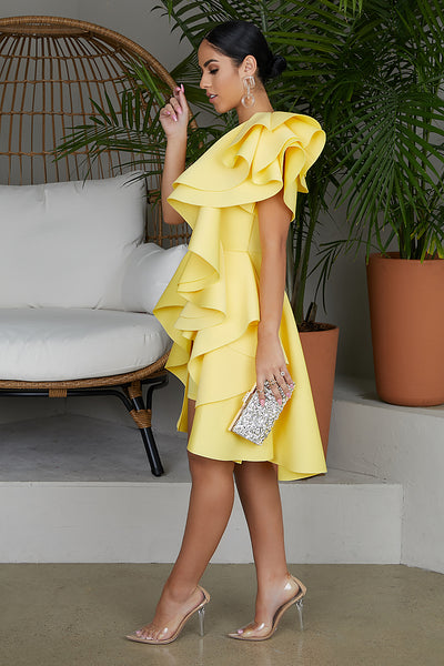 Fairest Of Them All Ruffle Dress (Light Yellow)