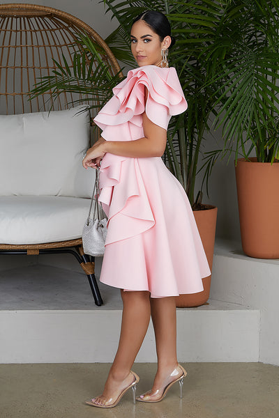 Fairest Of Them All Ruffle Dress (Light Pink)