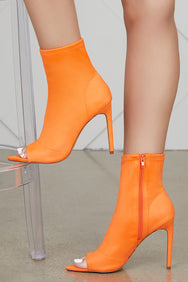 Straight To The Point Bootie (Neon Orange)-FINAL SALE
