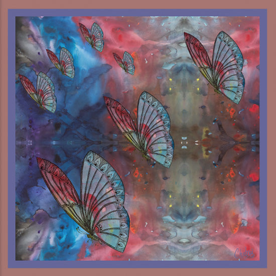 Chetna Singh multi-color butterfly print silk pocket square.