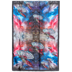Chetna Singh multi-color butterfly print long silk scarf.
