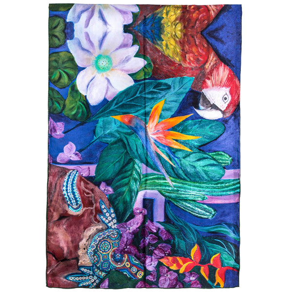 Chetna Singh bold jewel tone bird and floral print long silk scarf.