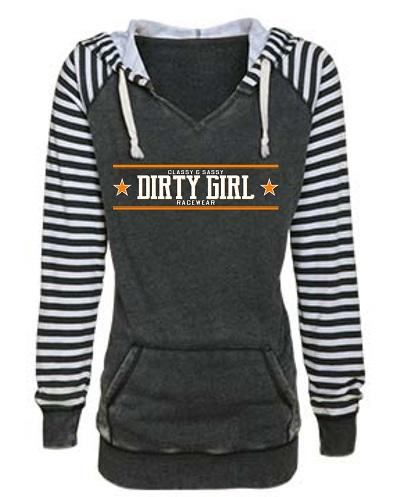 Dirty Girl Racewear Dirt Late Model & Dirt Modified Classy & Sassy Striped Sleeve Hoodie