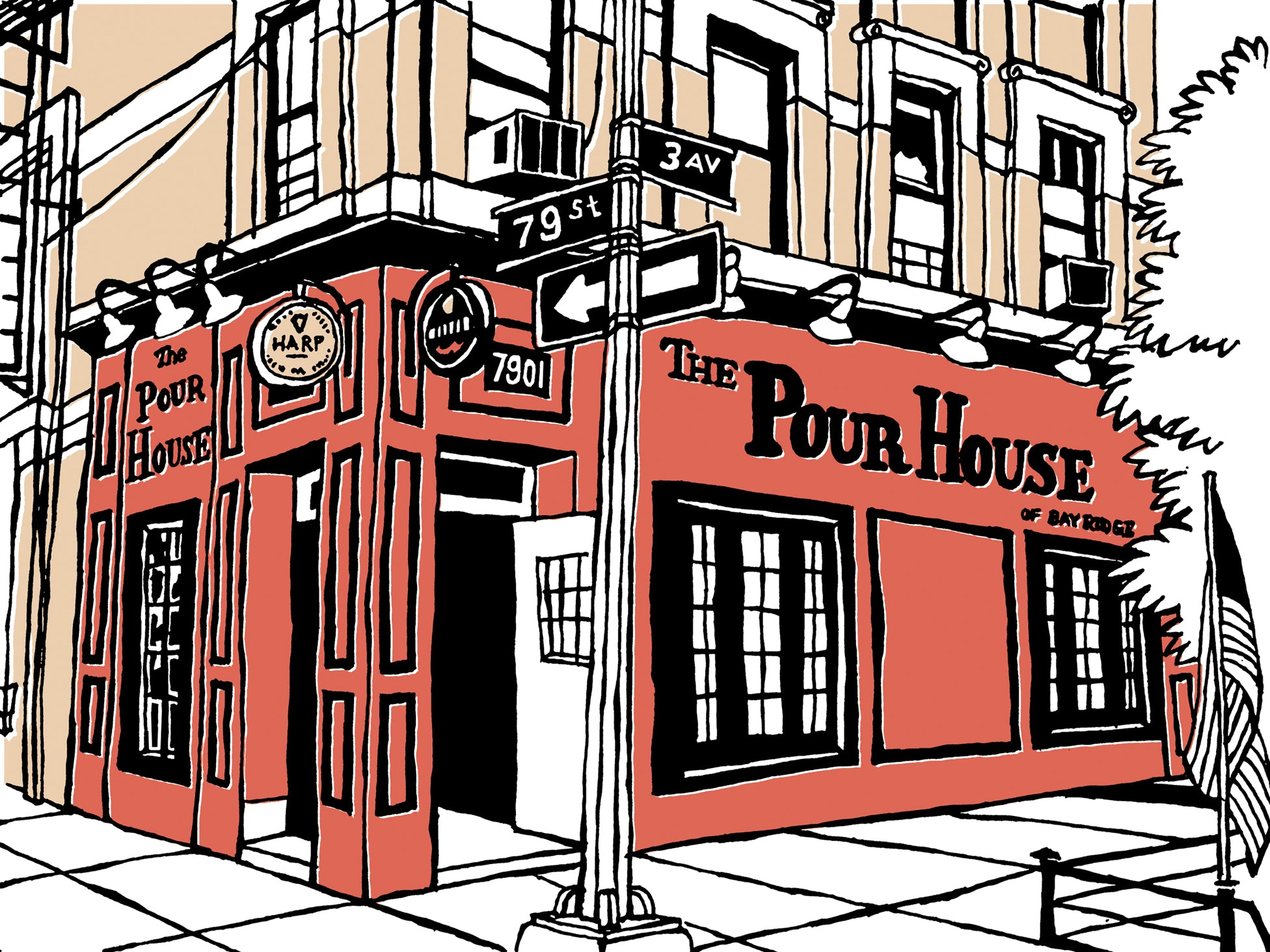 pour house of bay ridge nyc art by john tebeau