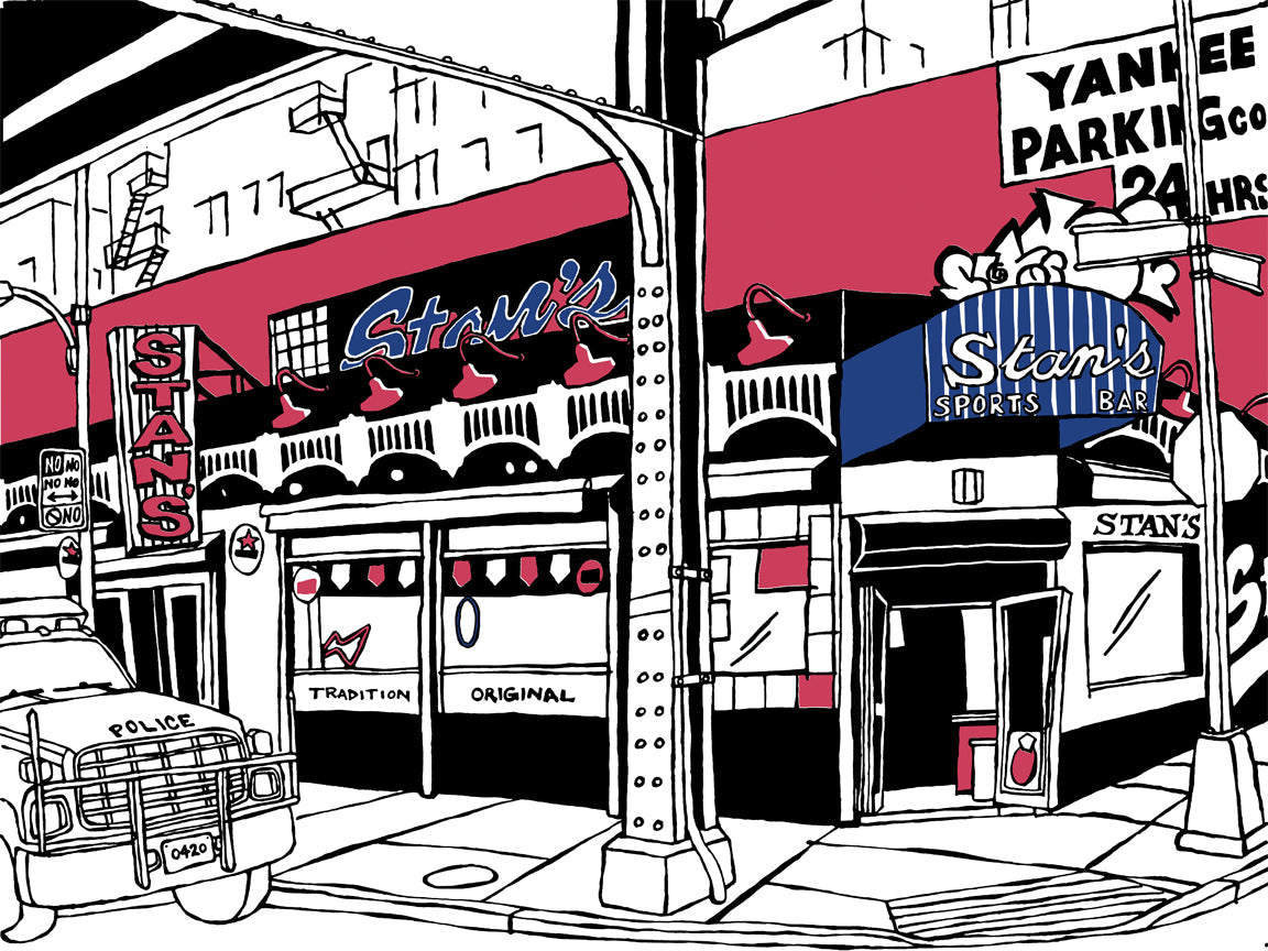 stan's sports bar bronx yankees art by john tebeau
