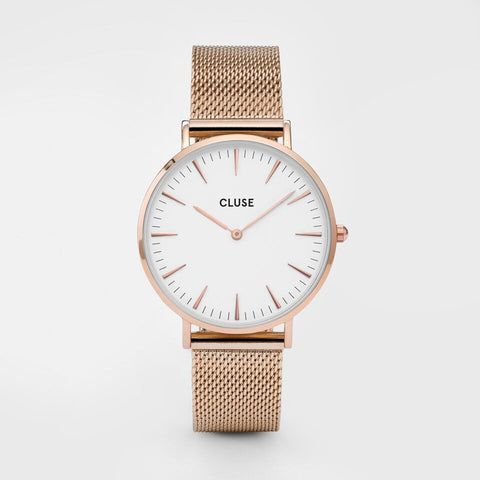 Cluse Watch Mesh Rose Gold / White CL18112 La Boheme