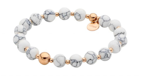 Ellani Stainless Steel & 8mm Howlite Ball Stretch Bracelet with Rose Gold Plate SB196