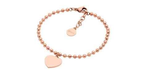 Ellani Stainless Steel Ball Chain Bracelet with flat Heart & Rose Gold Plate SB195R